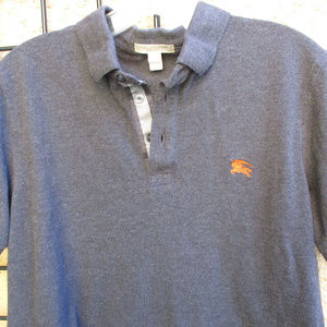 Burberry Shirts - BURBERRY BRIT GRAY POLO SHIRT ~ M ~ PLAID FABRIC